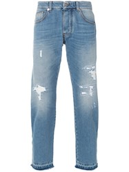 Ermanno Scervino Distressed Cropped Jeans Blue