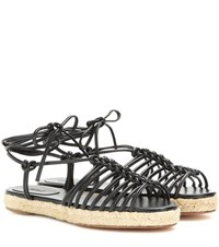 Chloe Leather Espadrille Sandals Black