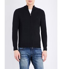 Armani Jeans Ribbed Stretch Cotton Top Black