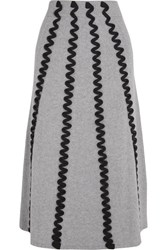 Kenzo Appliqued Wool Midi Skirt Light Gray