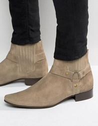 Asos Chelsea Boots In Stone Suede With Pointed Toe And Metal Detail Taupe