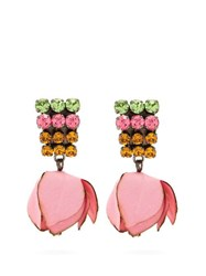 Marni Crystal Embellished Flower Drop Clip On Earrings Pink
