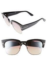Tom Ford Women's 55Mm Gradient Vintage Square Sunglasses Shiny Black Bordeaux Mirror Shiny Black Bordeaux Mirror