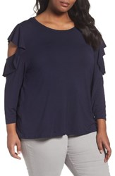 Sejour Plus Size Women's Cold Shoulder Ruffled Top Navy