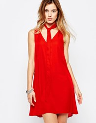 Daisy Street Shift Dress With Scarf Detail Red
