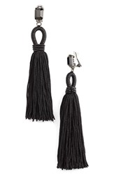 Oscar De La Renta Women's Long Silk Tassel Clip On Earrings