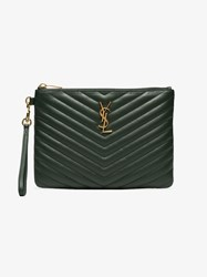 Saint Laurent Green Monogram Small Quilted Leather Pouch