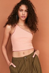 Silence And Noise Raquel One Shoulder Crop Top Coral