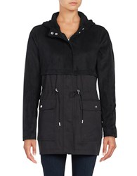 Vince Camuto Hooded Faux Suede Anorak Jacket Black