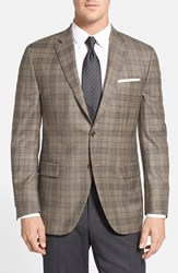 Men's Big And Tall Peter Millar 'Flynn' Classic Fit Plaid Wool And Cashmere Sport Coat Tan
