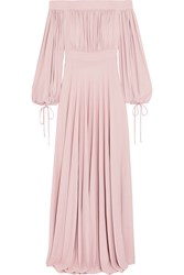Alexander Mcqueen Off The Shoulder Gathered Jersey Gown Pastel Pink