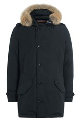 Woolrich Polar Down Parka With Fur Trimmed Hood Blue