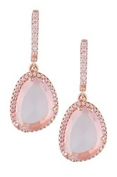 Rose Quartz And White Topaz Dangle Earrings Pink