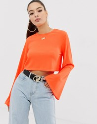 Missguided Neon Orange Crop Top With Flared Sleeves