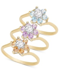 Victoria Townsend Multi Stone Ring Set In Gold Over Sterling Silver