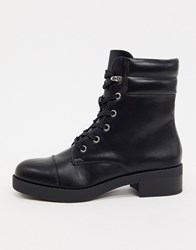 Bershka Lace Front High Ankle Boots In Black