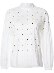Tibi Floral Beads Embellished Blouse Women Cotton Polyester Polyimide Xs White