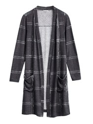 Sandwich Longline Checked Cardigan Grey