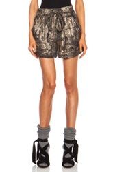 Isabel Marant Padu Lurex Georgette Silk Blend Short In Metallics Animal Print