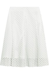 Theory Bhima Laser Cut Leather Skirt White