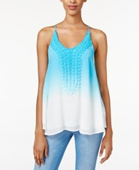Amy Byer Bcx Juniors' Embroidered Ombre Tank Top Turquoise