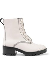 3.1 Phillip Lim Hayett Faux Pearl Embellished Leather Ankle Boots White