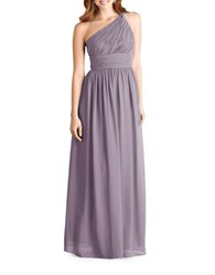 Donna Morgan One Shoulder Chiffon Gown Grey Ridge