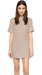 Alice Olivia Mandy Boat Neck Shift Dress Cream Red
