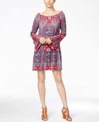 Bcbgeneration Bell Sleeve Printed Peasant Dress Red Blue