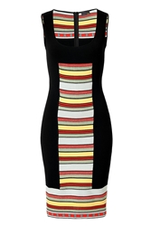 Fendi Black Multicolored Striped Panel Knit Dress