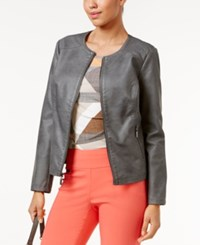Alfani Faux Leather Quilted Trim Jacket Only At Macy's Slate