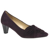 Gabor Tricky Gathered Detail Cone Heel Court Shoes Merlot Suede