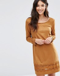 Vila Drawn Long Sleeve Dress Oak Brown