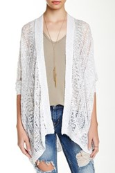 14Th And Union Pointelle Easy Cardigan White