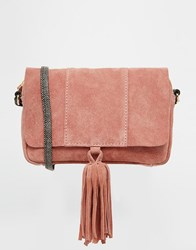 Asos Suede Cross Body Bag With Snake Strap Pink