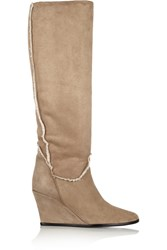 Lanvin Shearling Wedge Boots Nude