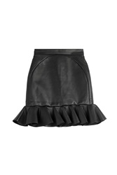 David Koma Leather Ruffle Hem Mini Skirt Black