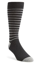 Men's The Tie Bar 'Woodland Stripe' Socks Black Charcoal