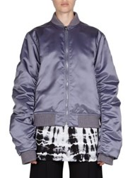 Acne Studios High Shine Bomber Jacket Lilac Olive Green