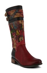 L'artiste Floral Boot Red Multi Leather