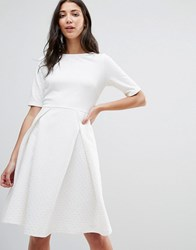 Traffic People Pleated Skater Dress White