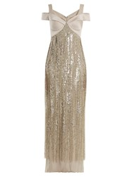 Versace Sweetheart Neck Embellished Silk Gown Silver