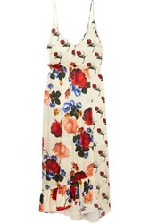 Mother Of Pearl Wrap Effect Floral Print Silk Satin Maxi Dress Ivory