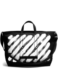 Off White Spray Print Cotton Canvas Tote Black Multi