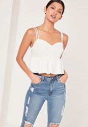 Missguided Peplum Sweetheart Cami Top White White