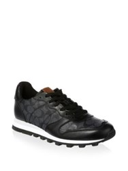 Coach Signature Print Leather Trim Running Sneakers Grey