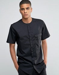 Asos Collarless Military Shirt In Black With Short Sleeves In Regular Fit Black