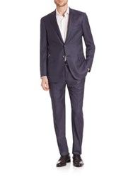 Isaia Delain Wool Suit Navy