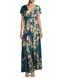 Johnny Was Timmie Short Sleeve Floral Print Maxi Dress Multi