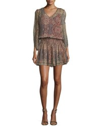 Ella Moss Tapestry Printed V Neck Silk Mini Dress Off White